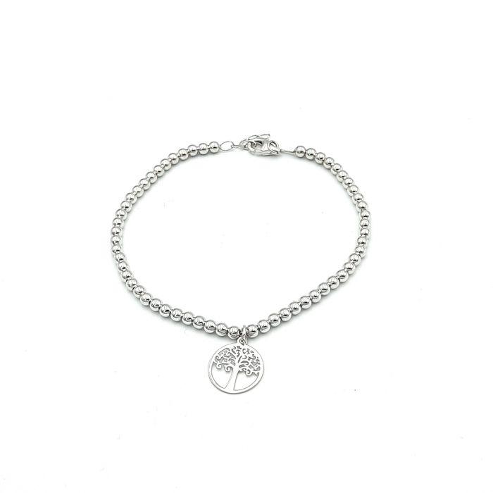 Bransoletka srebrna rodowana - drzewko szczęścia