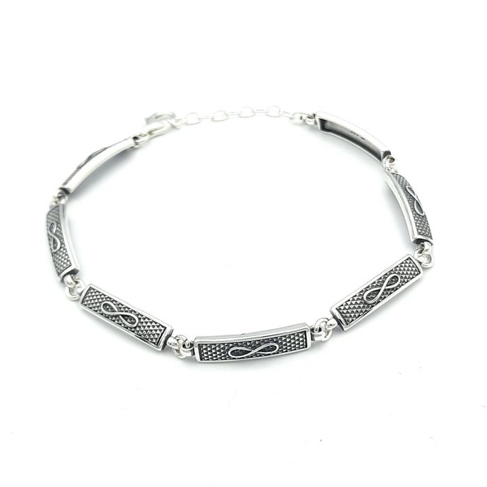 Bransoletka srebrna oksydowana - nieskończoność