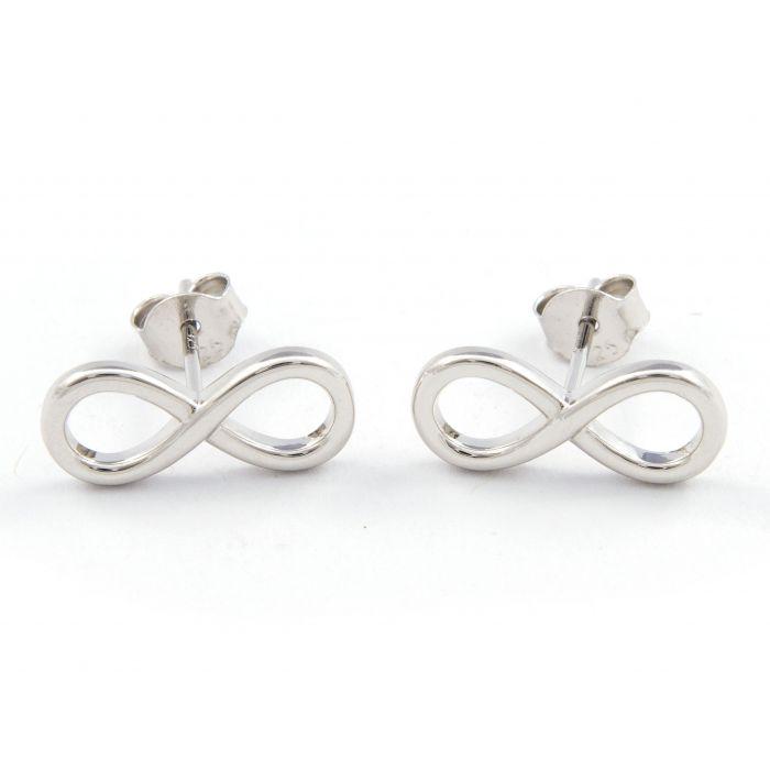Infinity - kolczyki srebrne rodowane