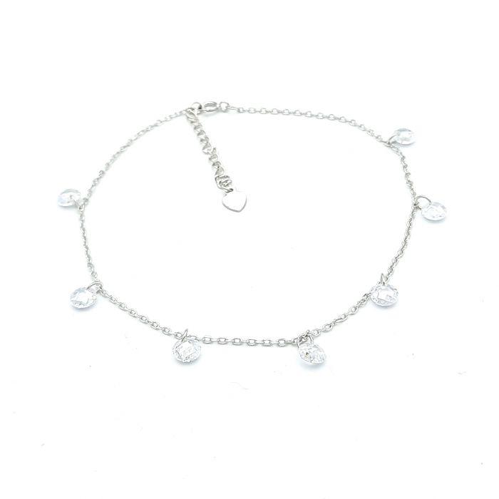 Bransoletka srebrna na nogę z kryształkami