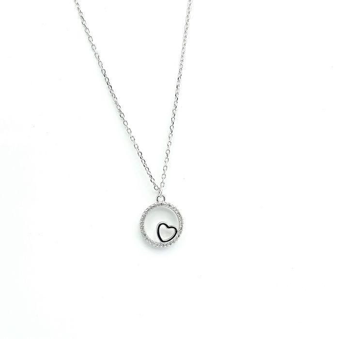 Naszyjnik srebrny rodowany - serce w kółeczku