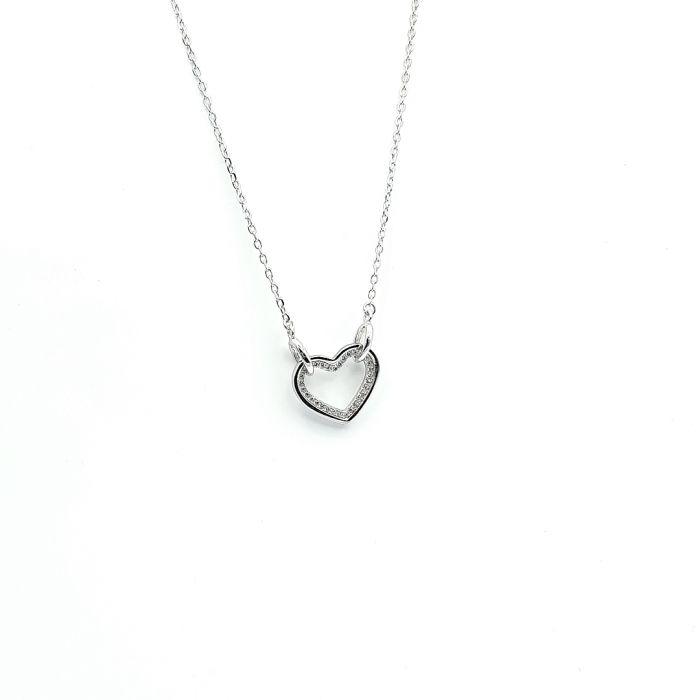 Naszyjnik srebrny rodowany - serce wysadzane cyrkoniami