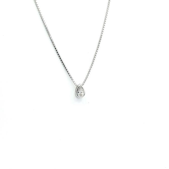Naszyjnik srebrny rodowany - łezka z cyrkonią