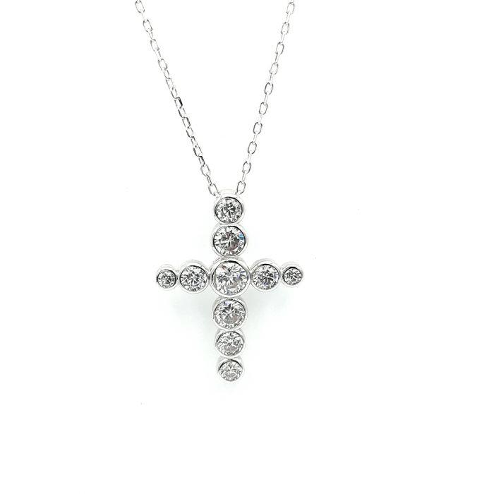 Naszyjnik srebrny rodowany - krzyżyk z cyrkoniami
