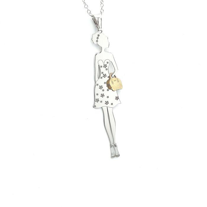 Naszyjnik srebrny pozłacany - kobieta z torebką