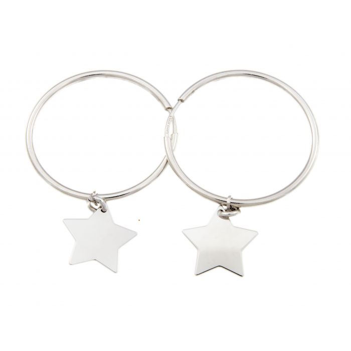 Kółka z gwiazdkami - kolczyki srebrne rodowane