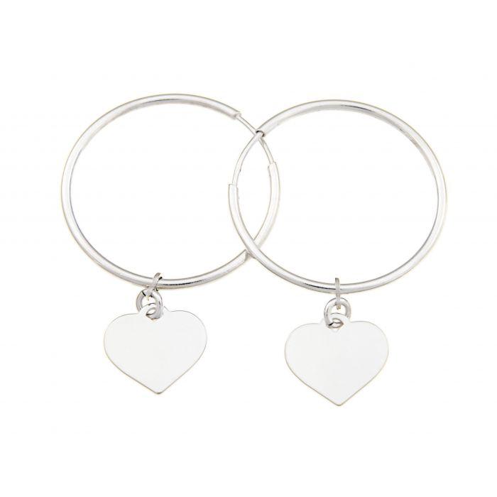 Kółka z sercami - kolczyki srebrne rodowane