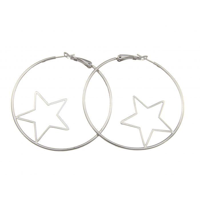 Koła z gwiazdami - kolczyki srebrne rodowane