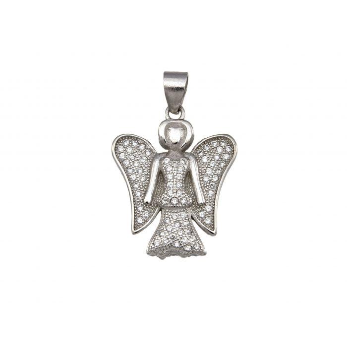Wisiorek srebrny z cyrkoniami w kształcie aniołka