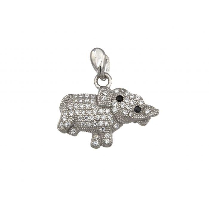 Wisiorek srebrny z cyrkoniami w kształcie słonia