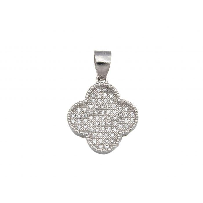 Wisiorek srebrny z cyrkoniami - koniczynka
