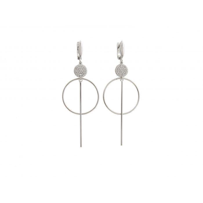 Kolczyki srebrne długie z cyrkoniami
