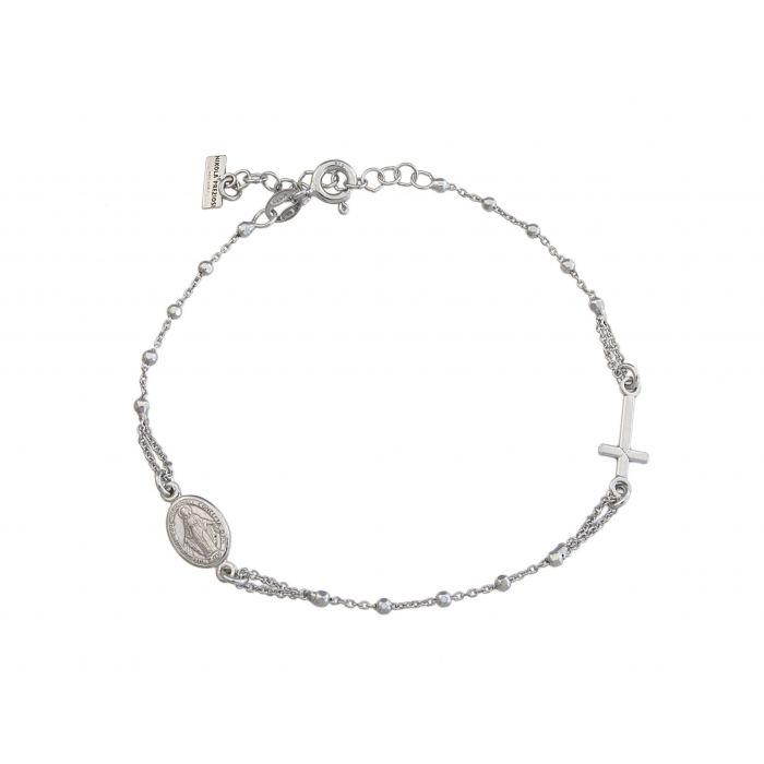 Bransoletka srebrna rodowana - różaniec
