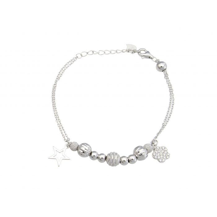 Bransoletka srebrna rodowana z cyrkoniami
