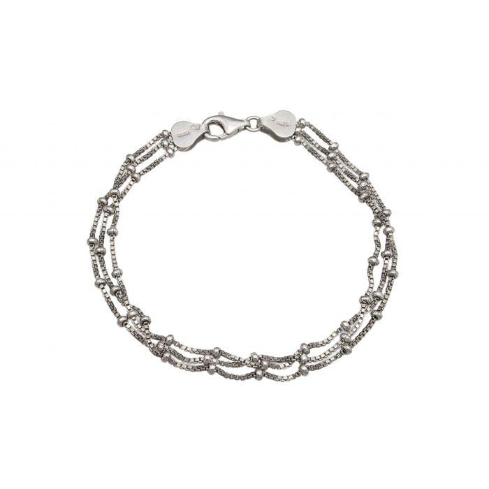 Bransoletka srebrna rodowana z kuleczkami