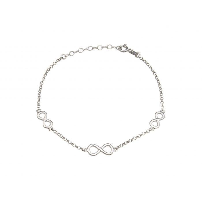 Bransoletka srebrna rodowana - nieskończoność
