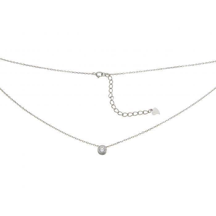 Naszyjnik srebrny rodowany z cyrkonią