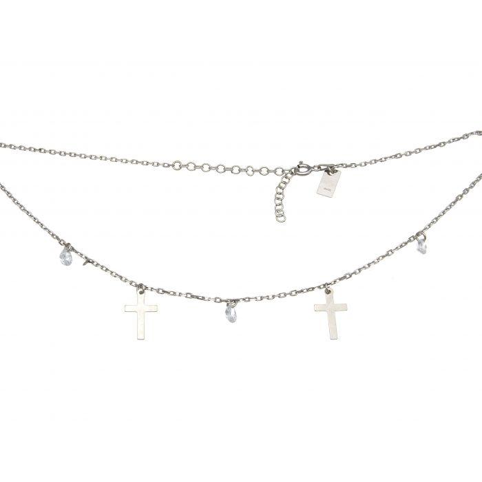 Naszyjnik srebrny rodowany z cyrkoniami i krzyżykami