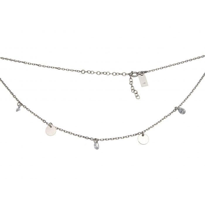 Naszyjnik srebrny rodowany z cyrkoniami i kółeczkami