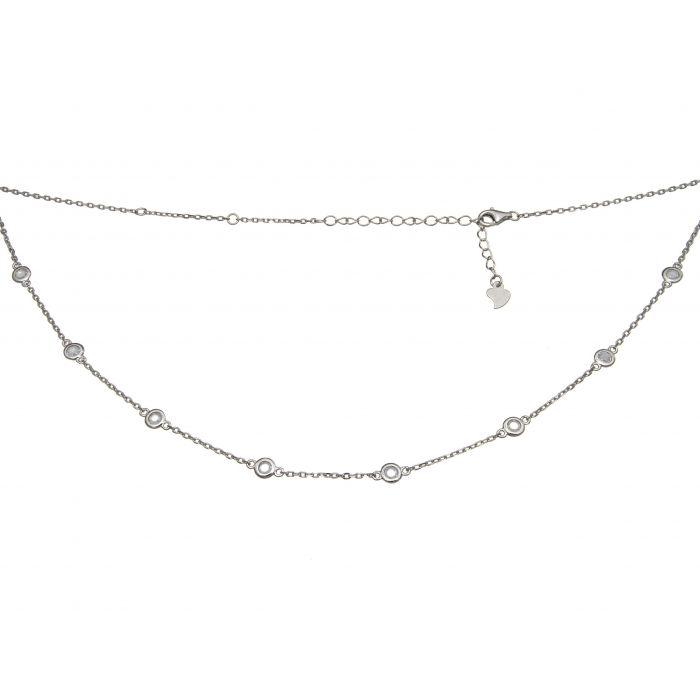 Naszyjnik srebrny rodowany z cyrkoniami