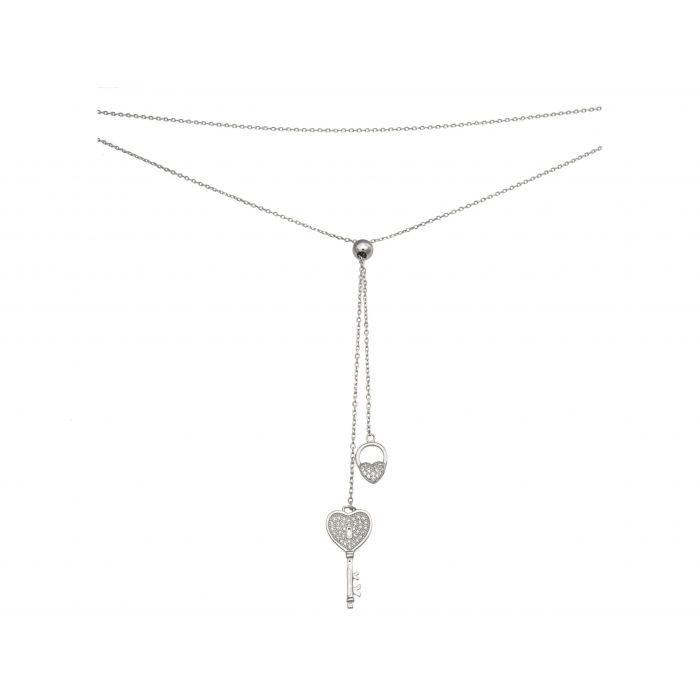 Naszyjnik, krawatka srebrna rodowana z cyrkoniami