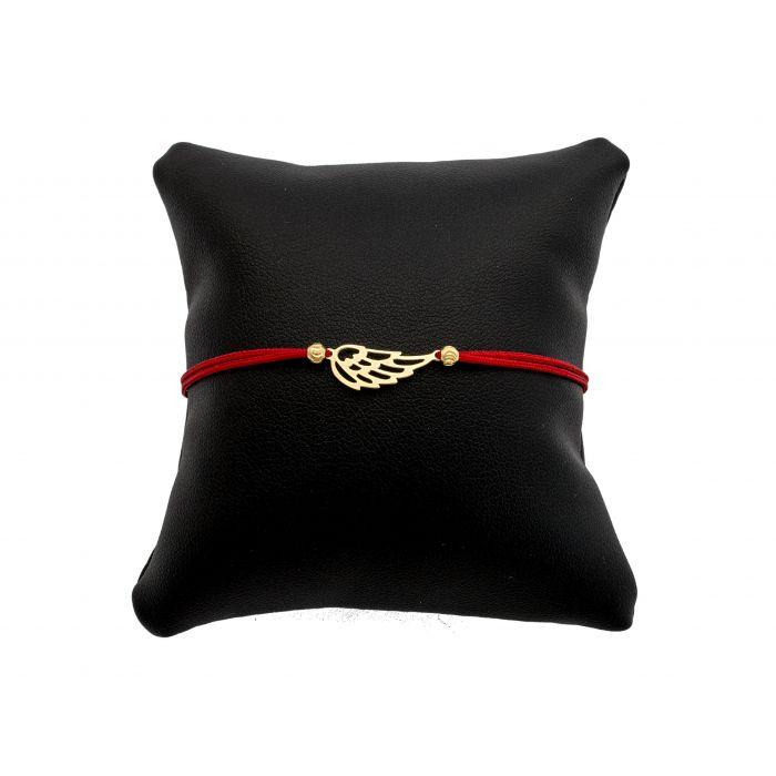 Bransoletka na czerwonym sznureczku - skrzydełko pozłacane