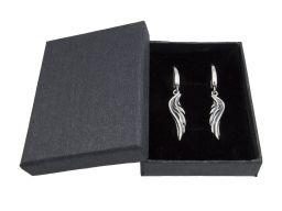 Kolczyki srebrne oksydowane - skrzydła