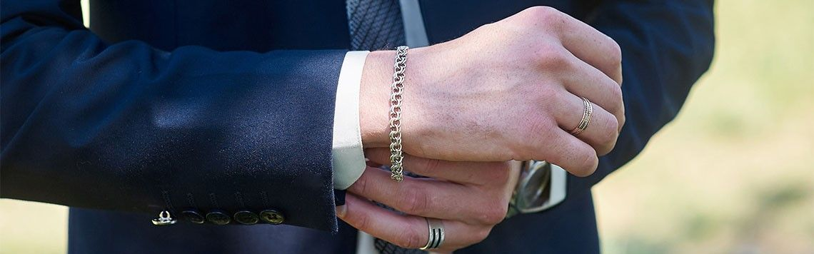 Srebrna biżuteria męska - bransolety i łańcuszki